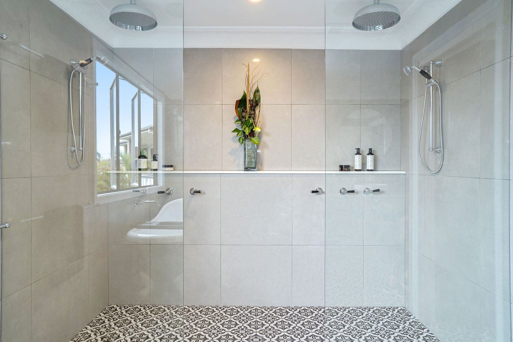 luxury bathroom renovation with double shower heads