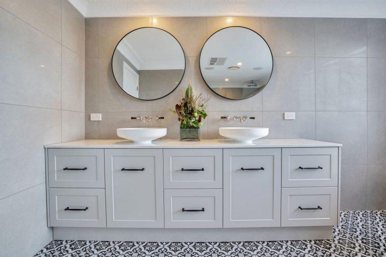 double sink, double mirror bathroom vanity