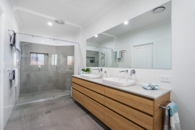 new bathroom grey tiles, white wall tiles, double vanity wood, double sink, large vanity mirror