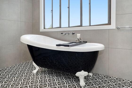 freestanding bath in newly renovated bathroom