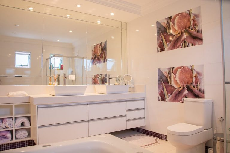 fresh bathroom make over vanity and big mirror