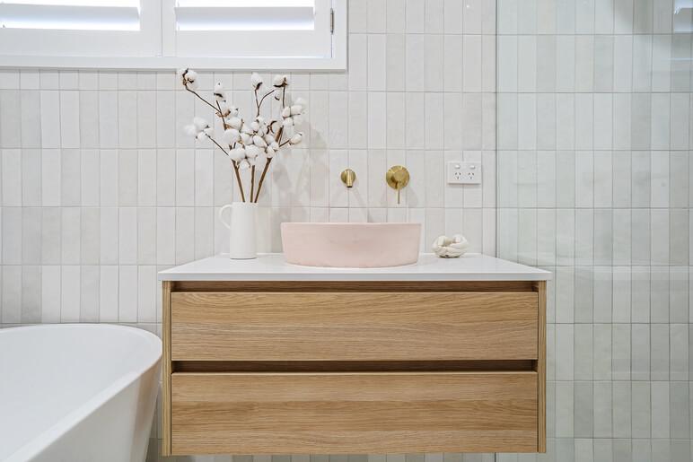 pink sink bathroom vanity
