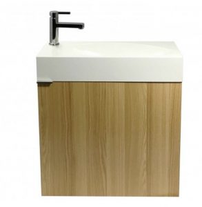 wall mounted wood and white vanity bathroom