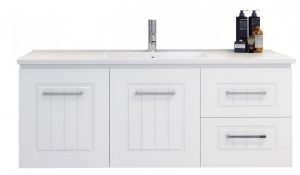 timberline white wall hung bathroom vanity renovation