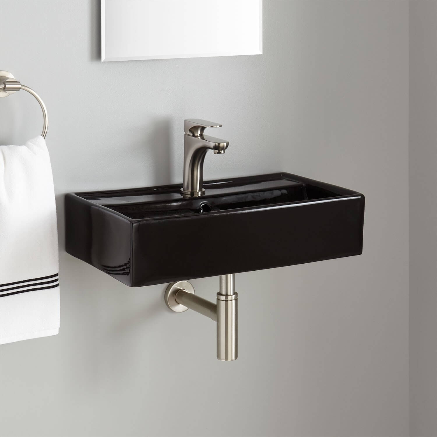 Wall mounted sink.